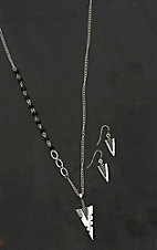 Blazin Roxx Ladies Silver with Black Arrowhead Jewelry Set