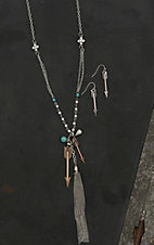 Blazin Roxx Ladies Silver with Arrows and Turquoise and Pearl Accents Tassel Pendant Jewelry Set