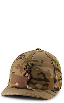 Browning Men's Camo with Logo Embroidery Flexfit Cap
