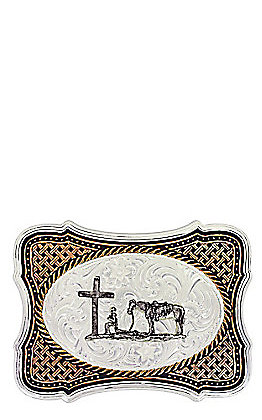 Montana Silvermiths Black Legacy Weave Christian Cowboy Belt Buckle