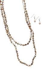 Blazin Roxx 3 Piece Brown Beaded Jewelry Set
