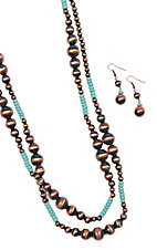 Blazin Roxx Copper Pearl and Turquoise Beaded Jewelry Set
