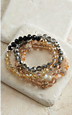 Blazin Roxx Multi-Color Shiny Beaded 4 Strand Bracelets