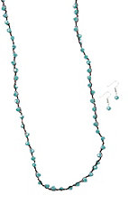 Blazin Roxx Turquoise Shiny Beaded Necklace and Earrings Jewelry Sets