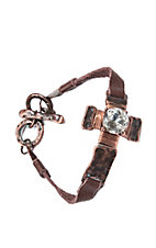 Blazin Roxx Brown Leather Strap w/ Cross & Large Rhinestone Bracelet
