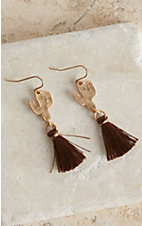 Blazin Roxx Gold Cactus w/ Brown Tassel Earrings