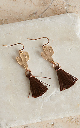 Blazin Roxx Gold Cactus with Brown Tassel Earrings
