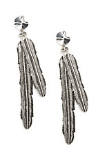 Blazin Roxx Silver Large Feather Dangle with Stone Studs Earrings