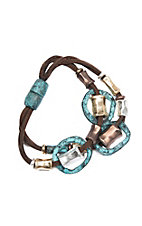 Blazin Roxx Double Strand w/ Patina, Copper and Gold Beaded Bracelet