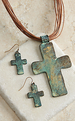 Blazin Roxx Brown Strands and Patina Cross Jewelry Set