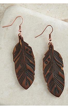 Blazin Roxx Brown Leather Feather Earrings