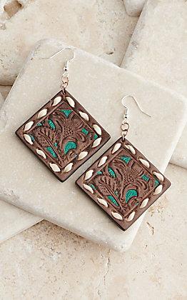 Blazin Roxx Brown & Turquoise Leather Dangle Earrings