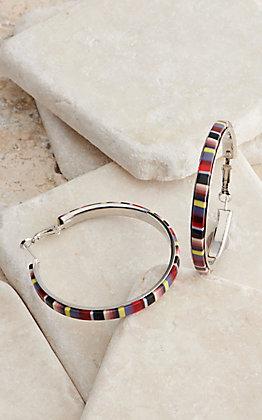 Blazin Roxx Serape Stripes Hoop Earrings
