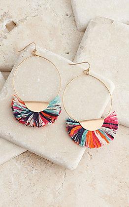 Blazin Roxx Thin Gold Hoop Multi Colored Fringe Earrings