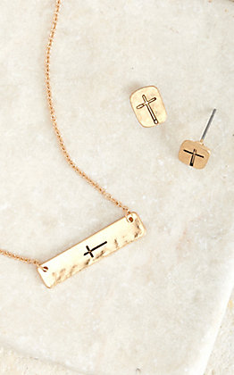 Blazin Roxx Gold Stamped Cross Necklace and Earring Set