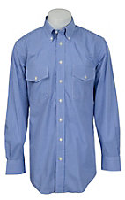 Gitman Bros. Men's Blue & White Mini Check L/S Button Down