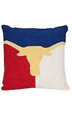 Peking Handicraft Large Longhorn Texas Throw Pillow