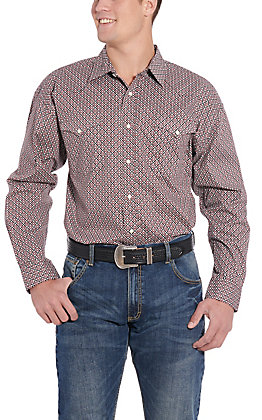 Panhandle Cavender's Exclusive Men's Red Medallion Long Sleeve Western Shirt