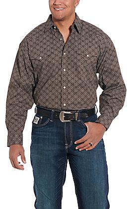 Panhandle Cavender's Exclusive Men's Brown Bandana Long Sleeve Western Shirt