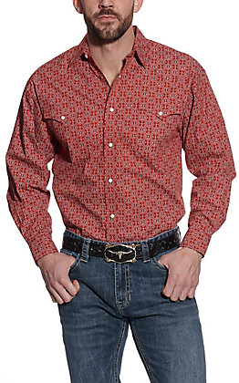 Panhandle Men's Red Geo Print Long Sleeve Western Shirt