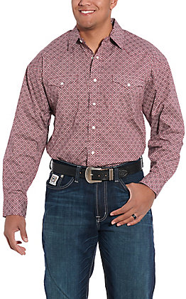 Panhandle Cavender's Exclusive Men's Red Medallion Print Long Sleeve Western Shirt