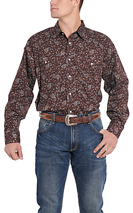 Panhandle Cavender's Exclusive Men's Brown Paisley Long Sleeve Western Shirt