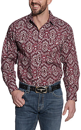 Panhandle Men's Burgundy Paisley Print Long Sleeve Western Shirt