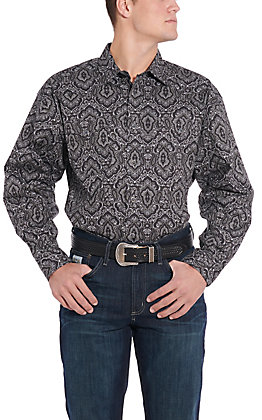 Panhandle Cavender's Exclusive Men's Black Paisley Long Sleeve Western Shirt