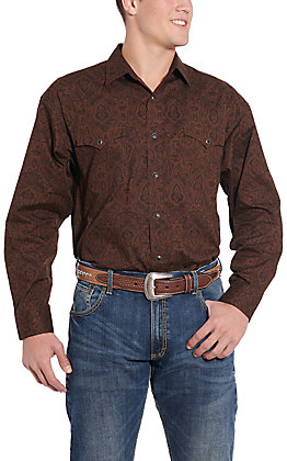 Panhandle Cavender's Exclusive Men's Chocolate Paisley Long Sleeve Western Shirt