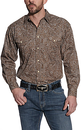 Panhandle Men's Brown Paisley Print Long Sleeve Western Shirt