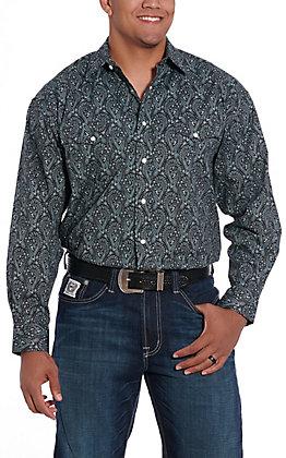 Panhandle Cavender's Exclusive Men's Black Paisley Long Sleeve Western Shirt