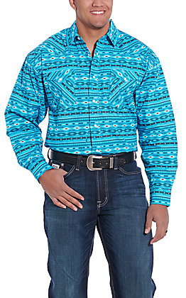 Panhandle Cavender's Exclusive Men's Turquoise Aztec Long Sleeve Western Shirt