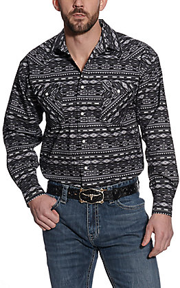 Panhandle Men's Black & Grey Aztec Print Long Sleeve Western Shirt