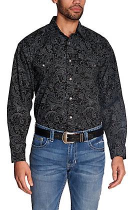Panhandle Men's Black with Grey Paisley Print Long Sleeve Western Shirt - Cavender's Exclusive