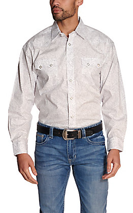 Panhandle Men's White with Grey Paisley Print Stretch Long Sleeve Western Shirt - Cavender's Exclusive