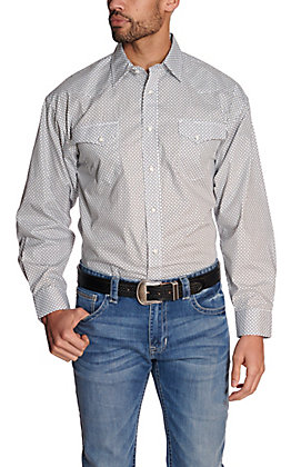 Panhandle Men's White with Black & Turquoise Geo Print Stretch Long Sleeve Western Shirt - Cavender's Exclusive