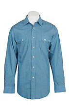 Panhandle Men's Blue Grill Print L/S Cavender's Exclusive Western Snap Shirt