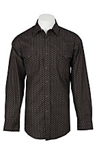 Panhandle Men's Black Circle Print L/S Cavender's Exclusive Western Snap Shirt