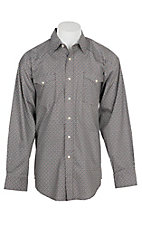 Panhandle Men's Brown, White and Blue Medallion Print L/S Cavender's Exclusive Western Snap Shirt