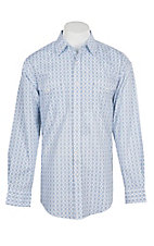 Panhandle Men's White and Blue Medallion Print L/S Cavender's Exclusive Western Snap Shirt