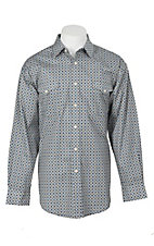 Panhandle Men's Blue Medallion Print L/S Cavender's Exclusive Western Snap Shirt