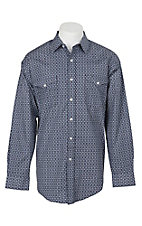 Panhandle Men's Navy and Grey Geo Clover Print L/S Cavender's Exclusive Western Snap Shirt