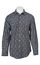 Panhandle Men's Brown and Blue Paisley Print L/S Cavender's Exclusive Western Snap Shirt