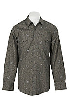 Panhandle Men's Olive Paisley Print L/S Cavender's Exclusive Western Snap Shirt