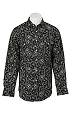 Panhandle Men's Black Paisley Print L/S Cavender's Exclusive Western Snap Shirt