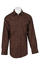 Panhandle Men's Brown Paisley Print L/S Cavender's Exclusive Western Snap Shirt