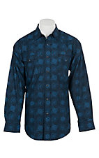 Panhandle Men's Blue Paisley Print L/S Cavender's Exclusive Western Snap Shirt