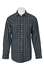 Panhandle Men's Navy Boot Stitch Print L/S Cavender's Exclusive Western Snap Shirt