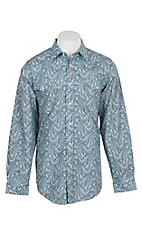 Panhandle Men's Grey, Blue and White Paisley Print L/S Cavender's Exclusive Western Snap Shirt