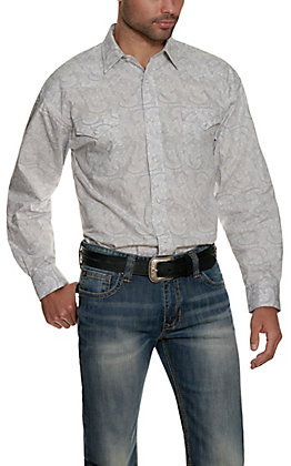 Panhandle Men's Silver with Grey Paisley Print Long Sleeve Western Shirt